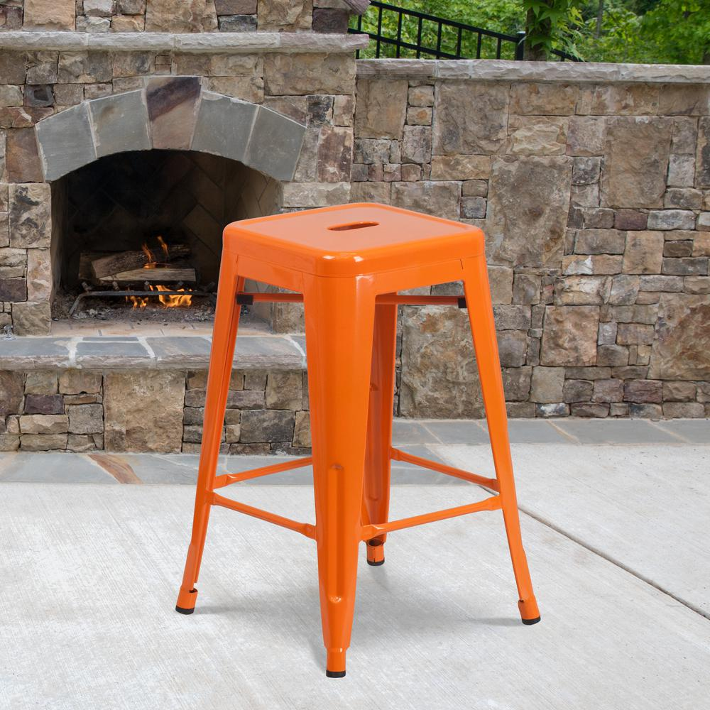 """Commercial Grade 24"""" High Backless Orange Metal Indoor-Outdoor Counter Height Stool with Square Seat. Picture 3"""