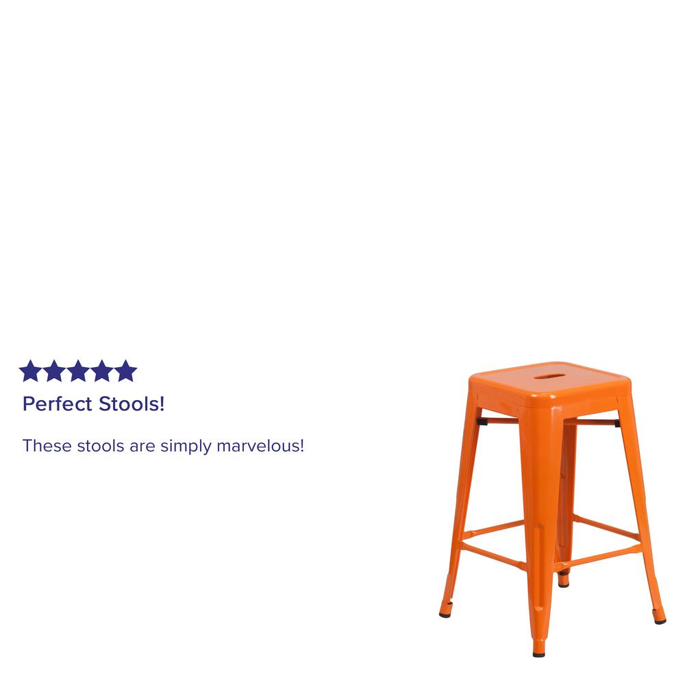 """Commercial Grade 24"""" High Backless Orange Metal Indoor-Outdoor Counter Height Stool with Square Seat. Picture 4"""