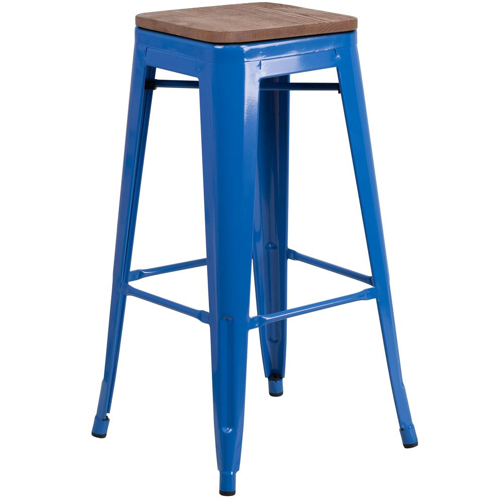 "30"" High Backless Blue Metal Barstool with Square Wood Seat. Picture 1"