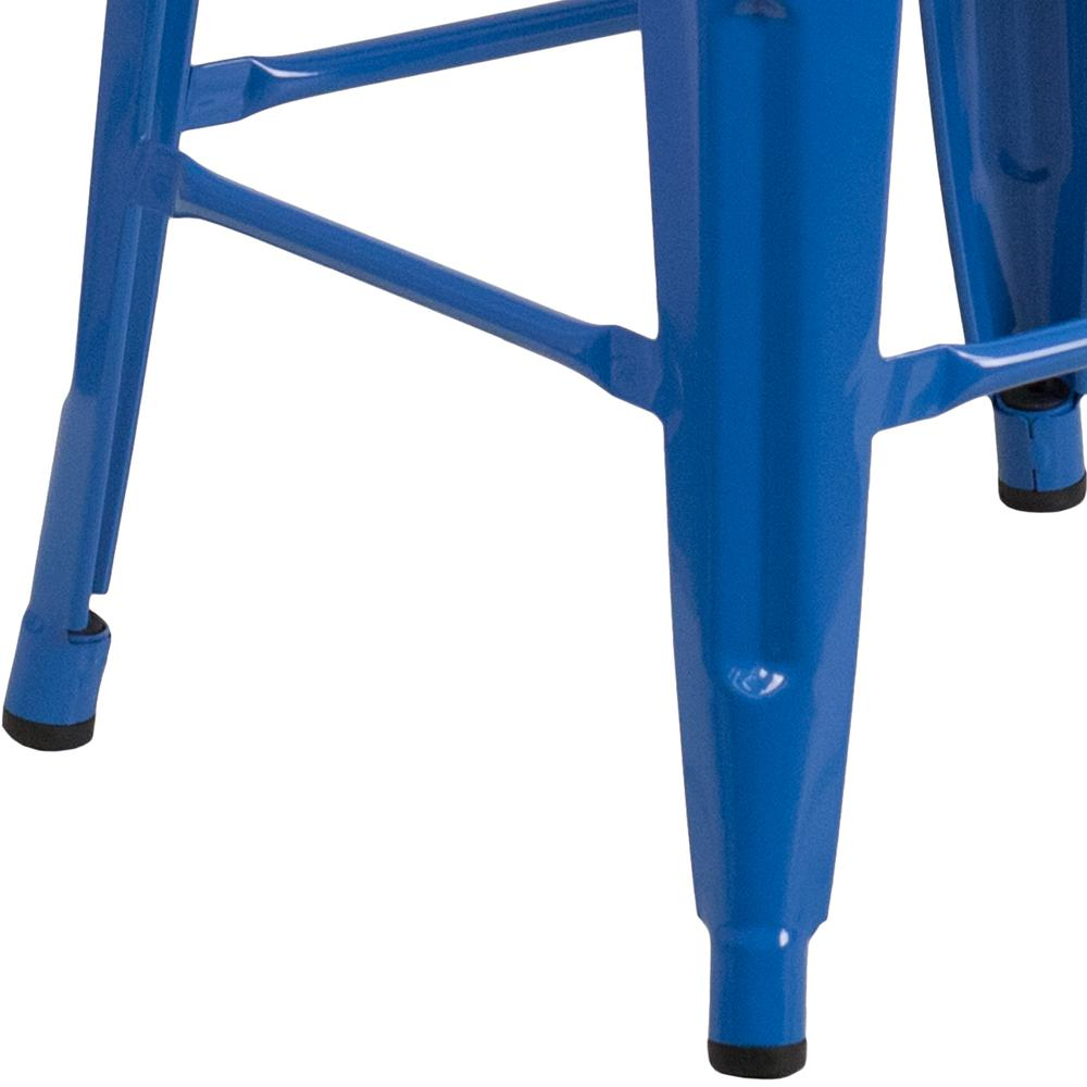 "30"" High Backless Blue Metal Barstool with Square Wood Seat. Picture 3"