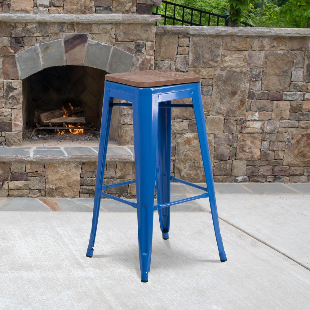 "30"" High Backless Blue Metal Barstool with Square Wood Seat. Picture 5"