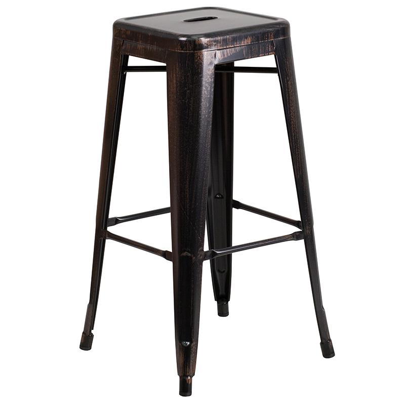 "Commercial Grade 30"" High Backless Black-Antique Gold Metal Indoor-Outdoor Barstool with Square Seat. The main picture."