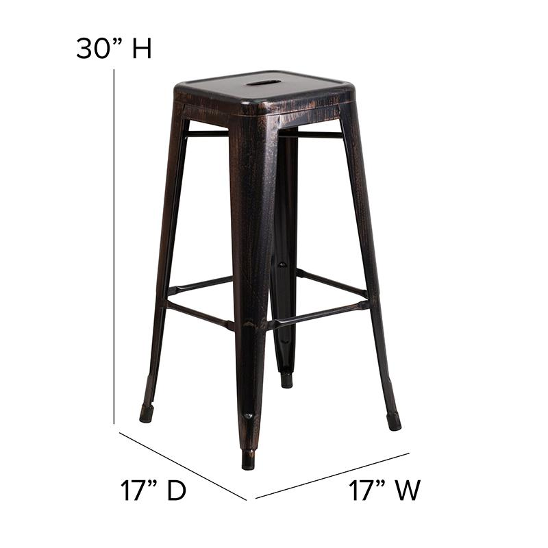 "Commercial Grade 30"" High Backless Black-Antique Gold Metal Indoor-Outdoor Barstool with Square Seat. Picture 2"