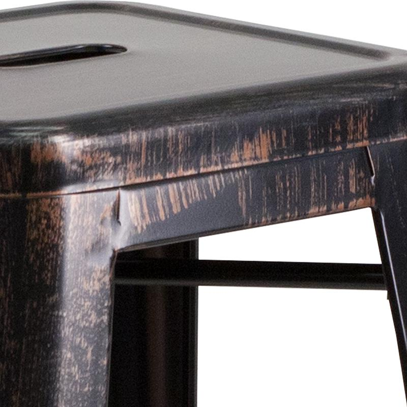 "Commercial Grade 30"" High Backless Black-Antique Gold Metal Indoor-Outdoor Barstool with Square Seat. Picture 5"