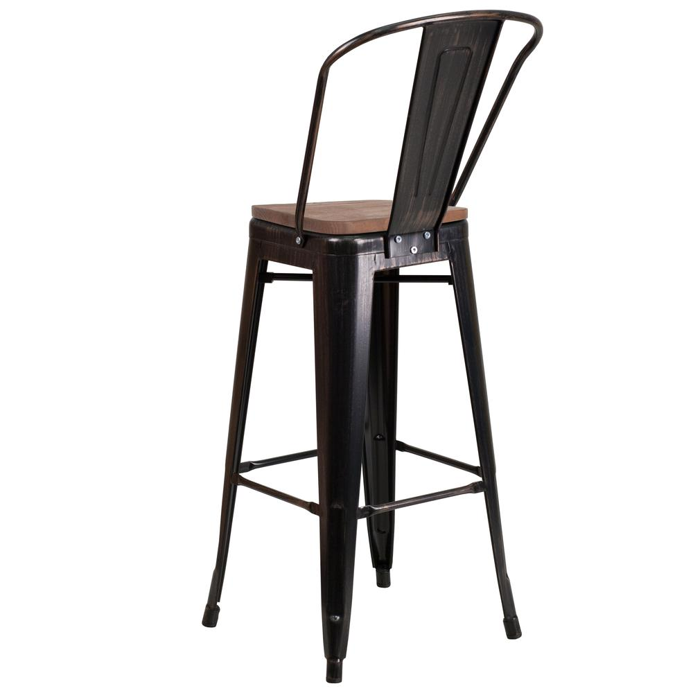 30 High Black Antique Gold Metal Barstool With Back And Wood Seat