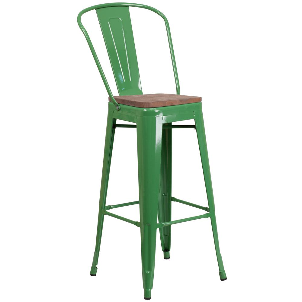 """30"""" High Green Metal Barstool with Back and Wood Seat. Picture 1"""