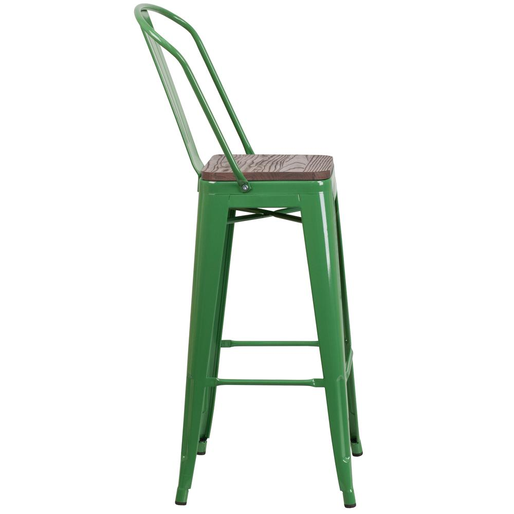 """30"""" High Green Metal Barstool with Back and Wood Seat. Picture 2"""