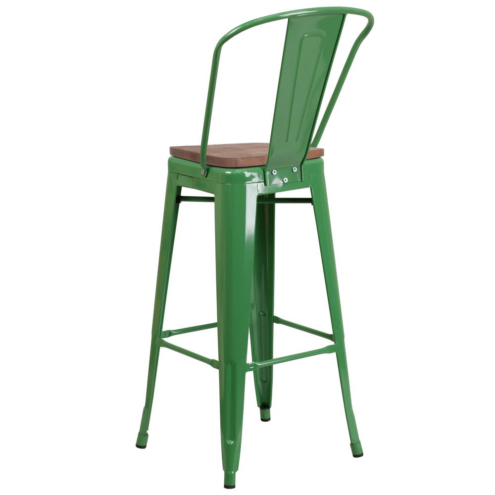 """30"""" High Green Metal Barstool with Back and Wood Seat. Picture 3"""