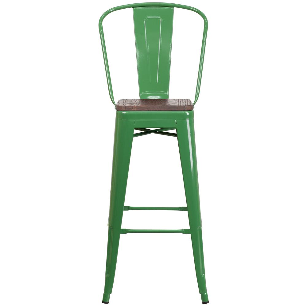 """30"""" High Green Metal Barstool with Back and Wood Seat. Picture 4"""