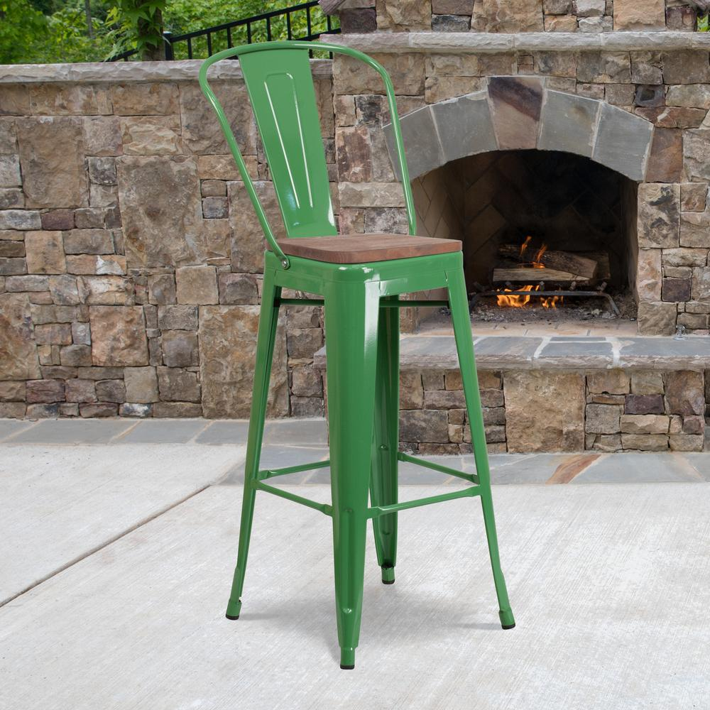 """30"""" High Green Metal Barstool with Back and Wood Seat. Picture 5"""