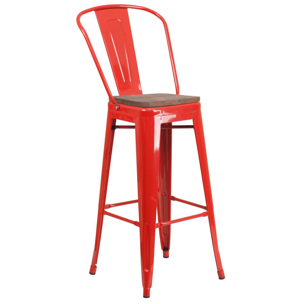 "30"" High Red Metal Barstool with Back and Wood Seat. Picture 1"