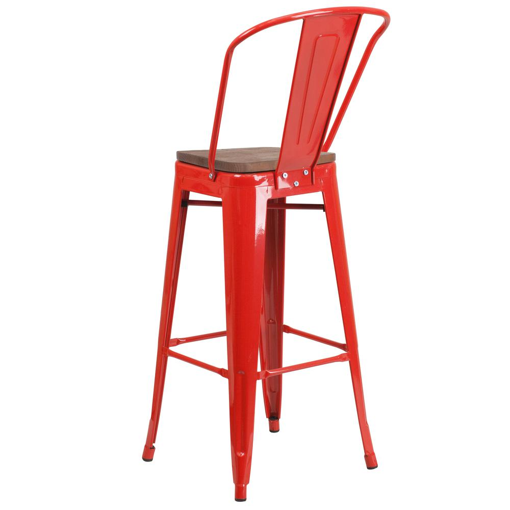 "30"" High Red Metal Barstool with Back and Wood Seat. Picture 3"