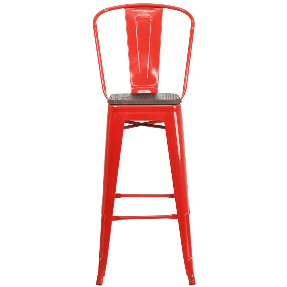 "30"" High Red Metal Barstool with Back and Wood Seat. Picture 4"