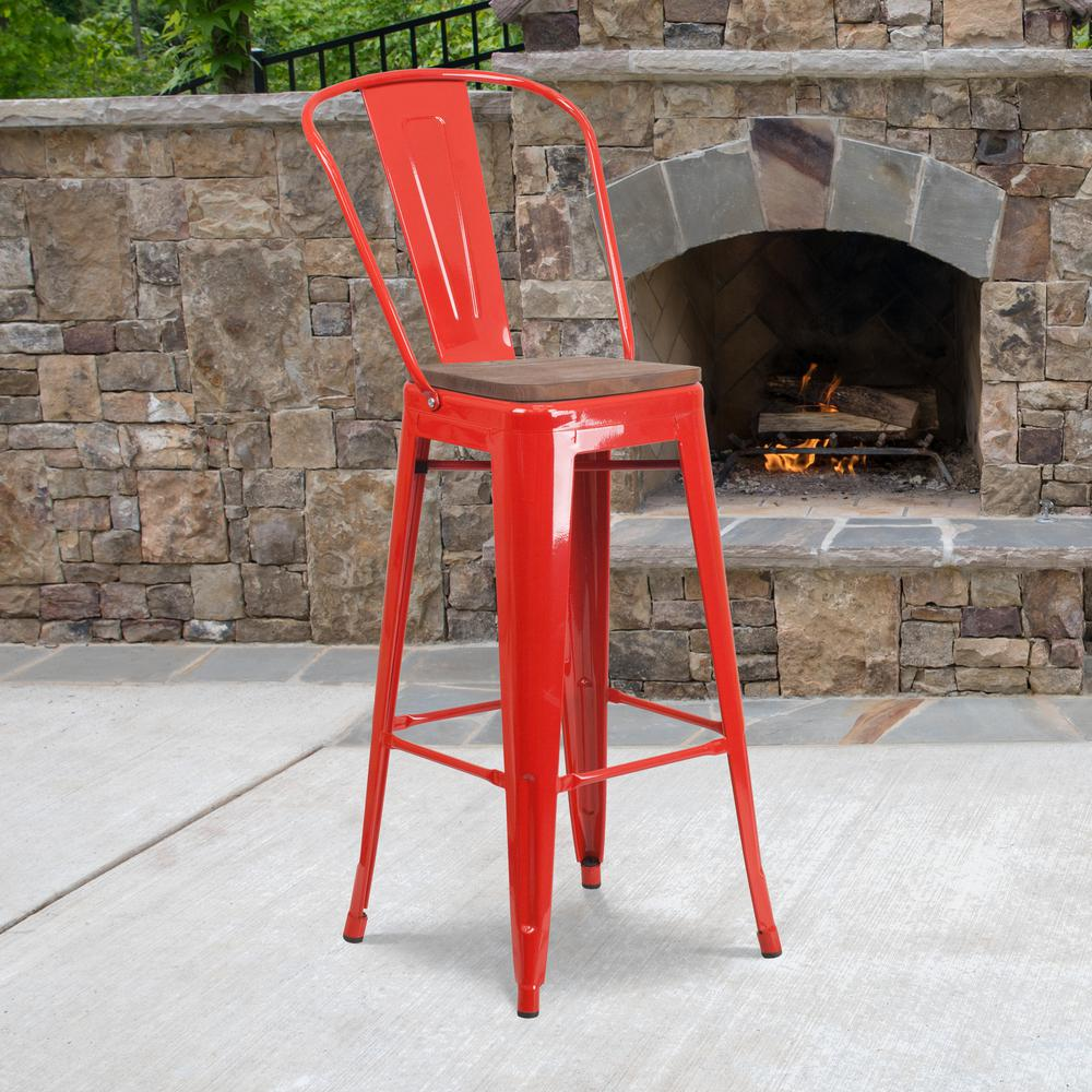 "30"" High Red Metal Barstool with Back and Wood Seat. Picture 5"