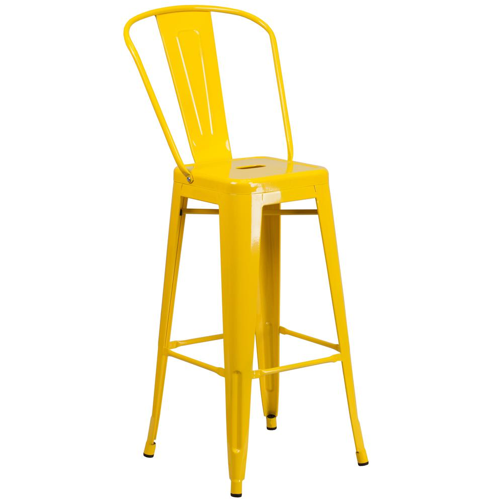 "Commercial Grade 30"" High Yellow Metal Indoor-Outdoor Barstool with Back [CH-31320-30GB-YL-GG]. Picture 1"