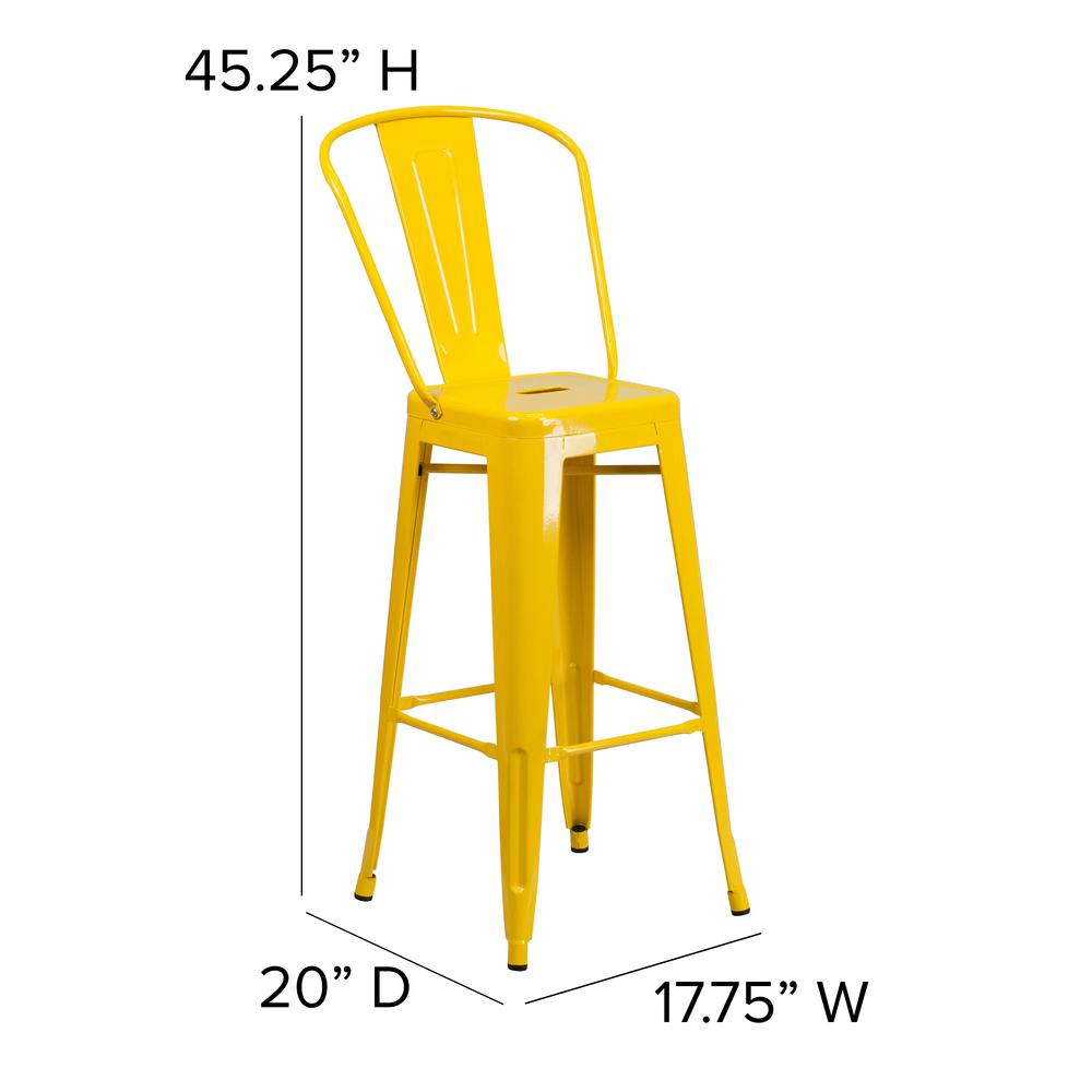 "Commercial Grade 30"" High Yellow Metal Indoor-Outdoor Barstool with Back [CH-31320-30GB-YL-GG]. Picture 2"