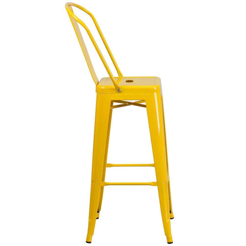 "Commercial Grade 30"" High Yellow Metal Indoor-Outdoor Barstool with Back [CH-31320-30GB-YL-GG]. Picture 3"