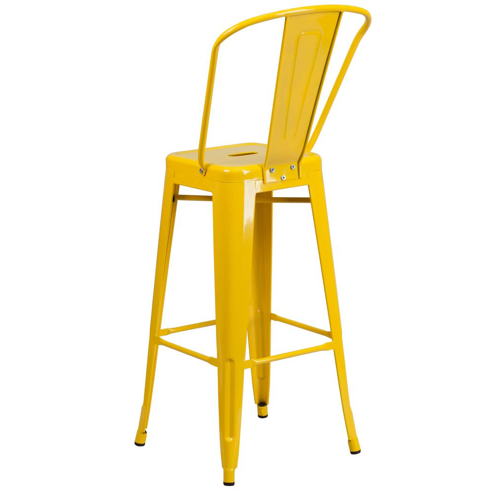 "Commercial Grade 30"" High Yellow Metal Indoor-Outdoor Barstool with Back [CH-31320-30GB-YL-GG]. Picture 4"