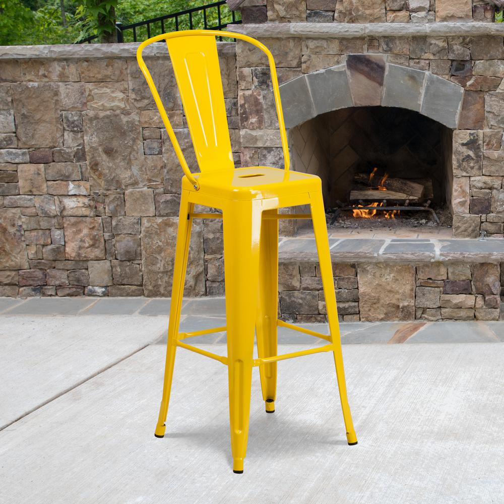 "Commercial Grade 30"" High Yellow Metal Indoor-Outdoor Barstool with Back [CH-31320-30GB-YL-GG]. Picture 6"
