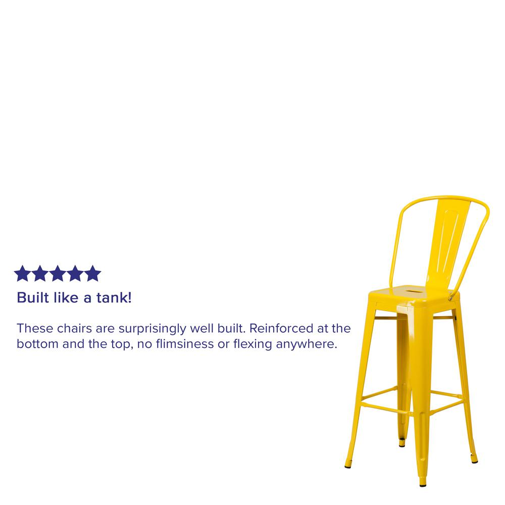 "Commercial Grade 30"" High Yellow Metal Indoor-Outdoor Barstool with Back [CH-31320-30GB-YL-GG]. Picture 7"