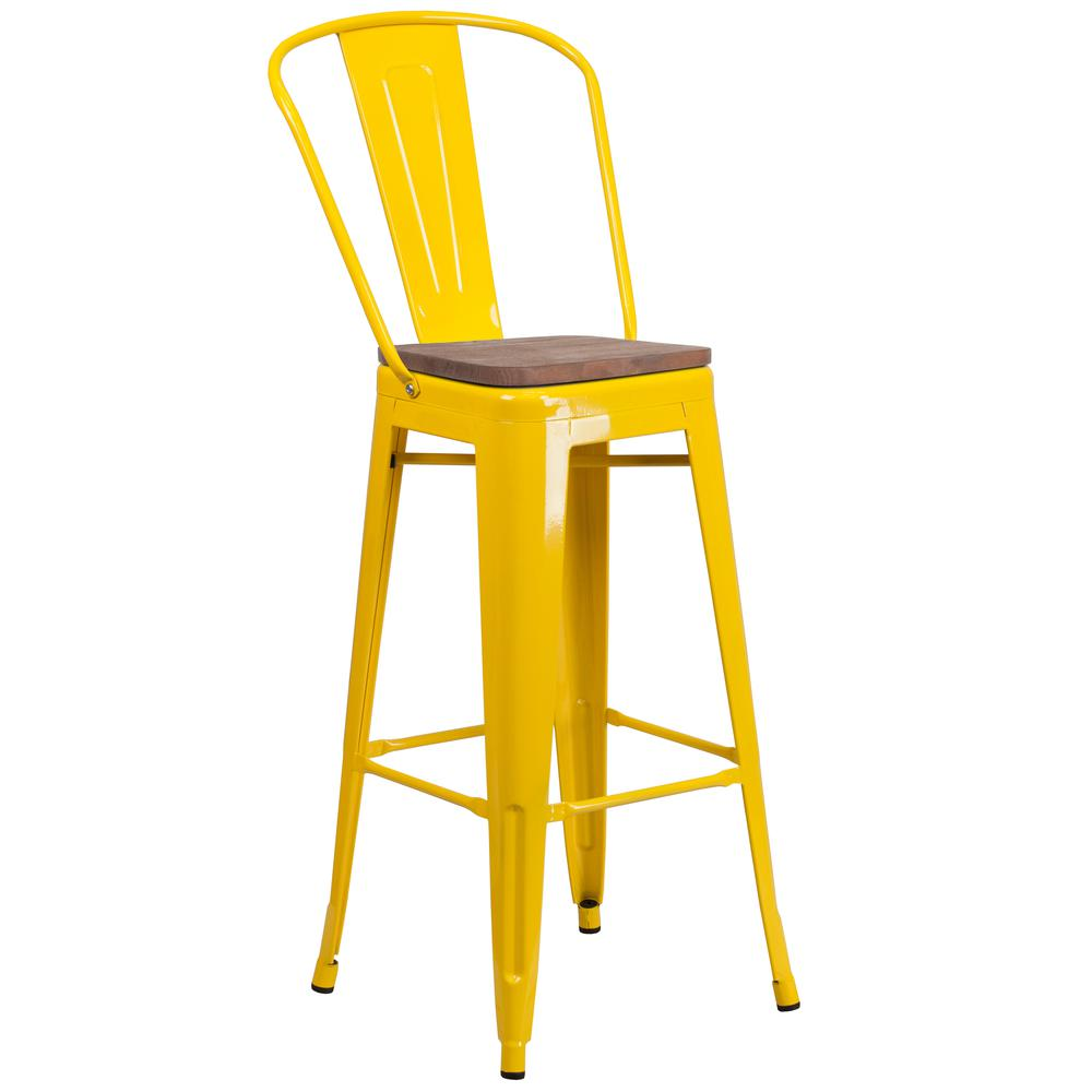 """30"""" High Yellow Metal Barstool with Back and Wood Seat. Picture 1"""