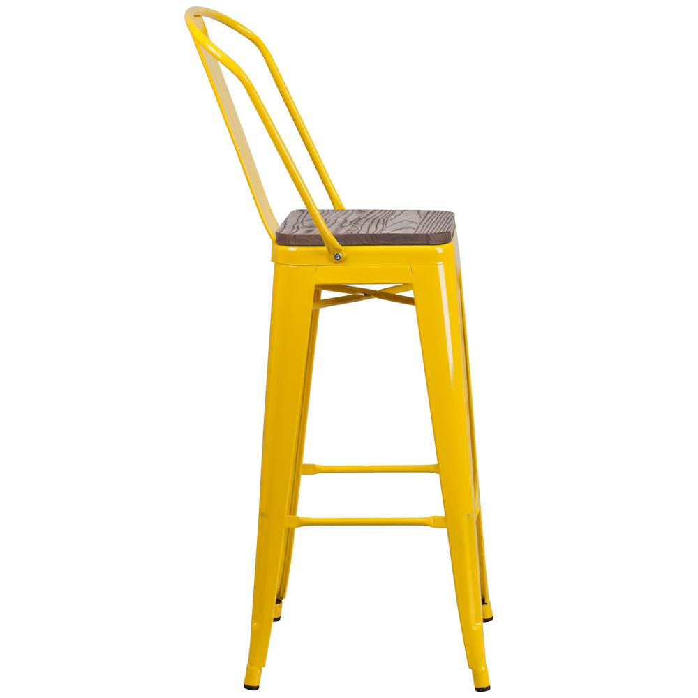 """30"""" High Yellow Metal Barstool with Back and Wood Seat. Picture 2"""