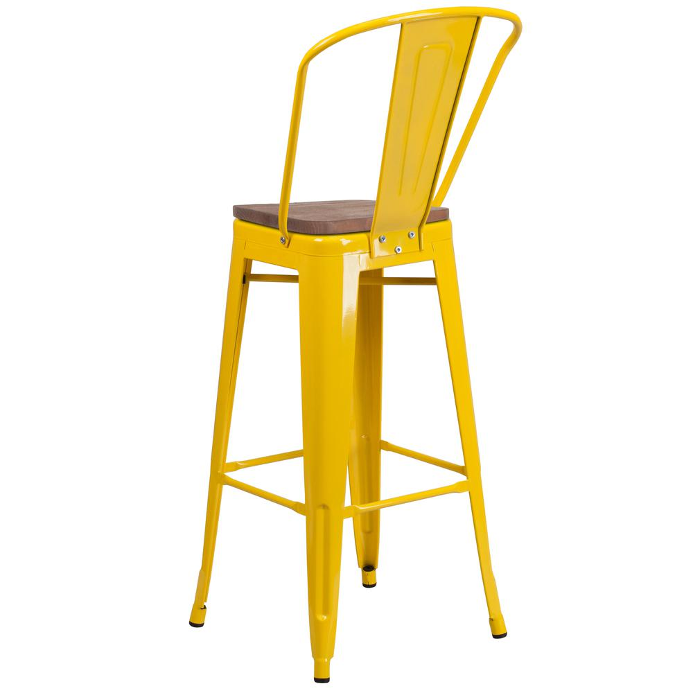 """30"""" High Yellow Metal Barstool with Back and Wood Seat. Picture 3"""