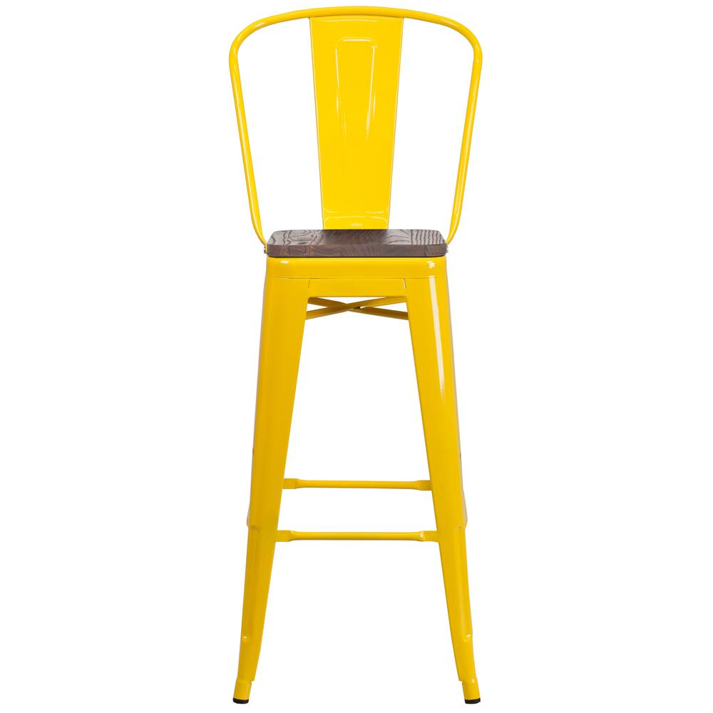 """30"""" High Yellow Metal Barstool with Back and Wood Seat. Picture 4"""