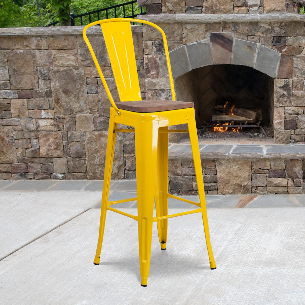 """30"""" High Yellow Metal Barstool with Back and Wood Seat. Picture 5"""