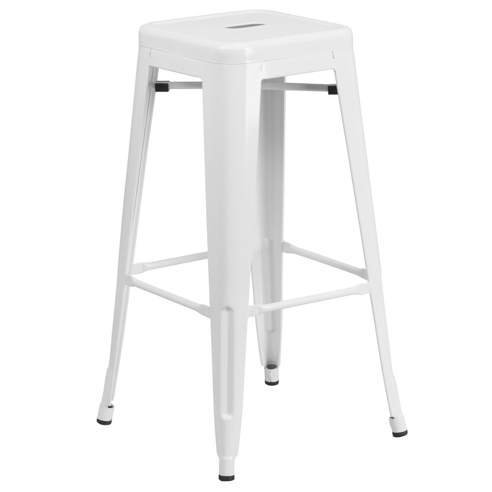 "Commercial Grade 30"" High Backless White Metal Indoor-Outdoor Barstool with Square Seat. Picture 1"