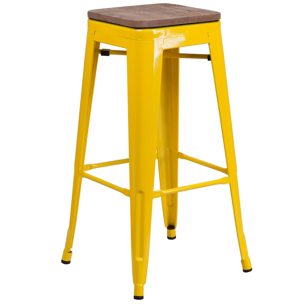 """30"""" High Backless Yellow Metal Barstool with Square Wood Seat. Picture 1"""