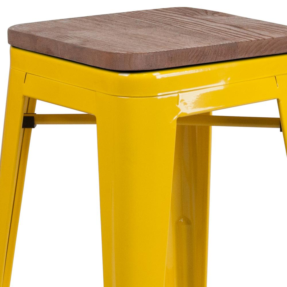 """30"""" High Backless Yellow Metal Barstool with Square Wood Seat. Picture 2"""