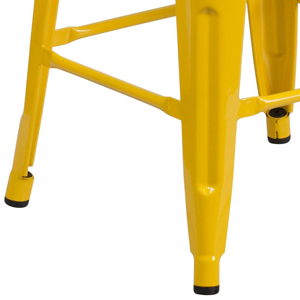 """30"""" High Backless Yellow Metal Barstool with Square Wood Seat. Picture 3"""
