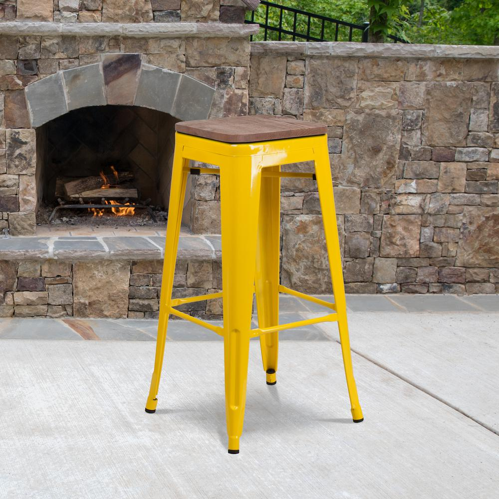 """30"""" High Backless Yellow Metal Barstool with Square Wood Seat. Picture 5"""