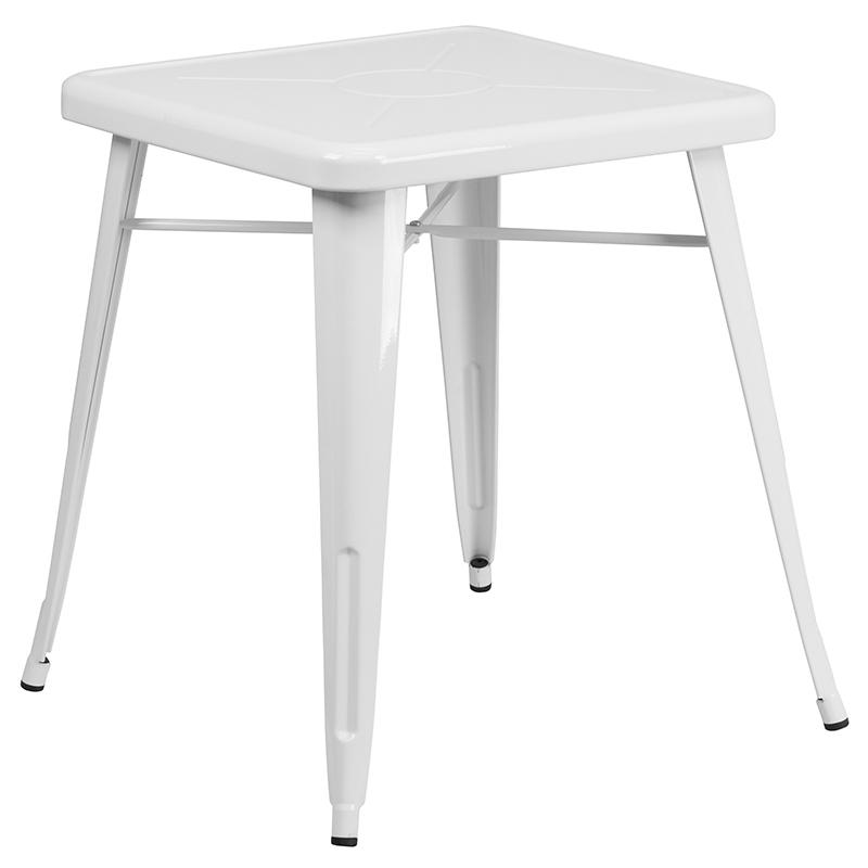 """Commercial Grade 23.75"""" Square White Metal Indoor-Outdoor Table Set with 2 Stack Chairs [CH-31330-2-30-WH-GG]. Picture 2"""