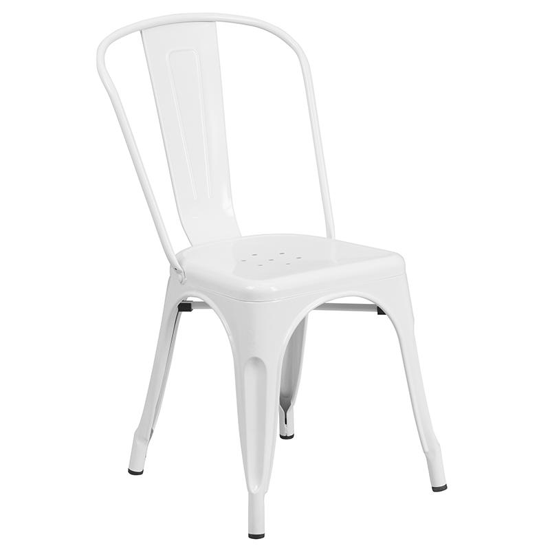 """Commercial Grade 23.75"""" Square White Metal Indoor-Outdoor Table Set with 2 Stack Chairs [CH-31330-2-30-WH-GG]. Picture 3"""