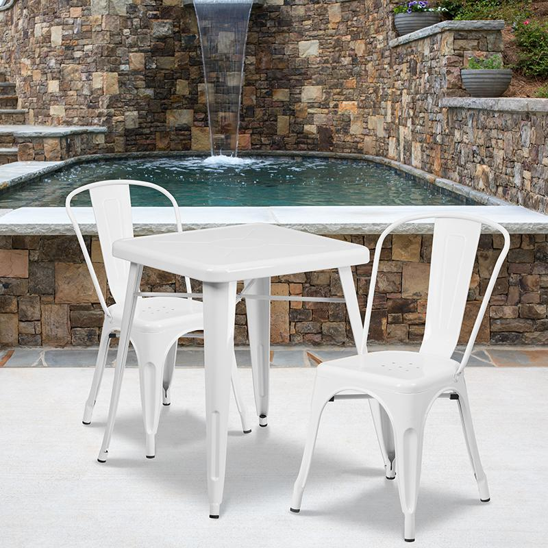 """Commercial Grade 23.75"""" Square White Metal Indoor-Outdoor Table Set with 2 Stack Chairs [CH-31330-2-30-WH-GG]. Picture 4"""
