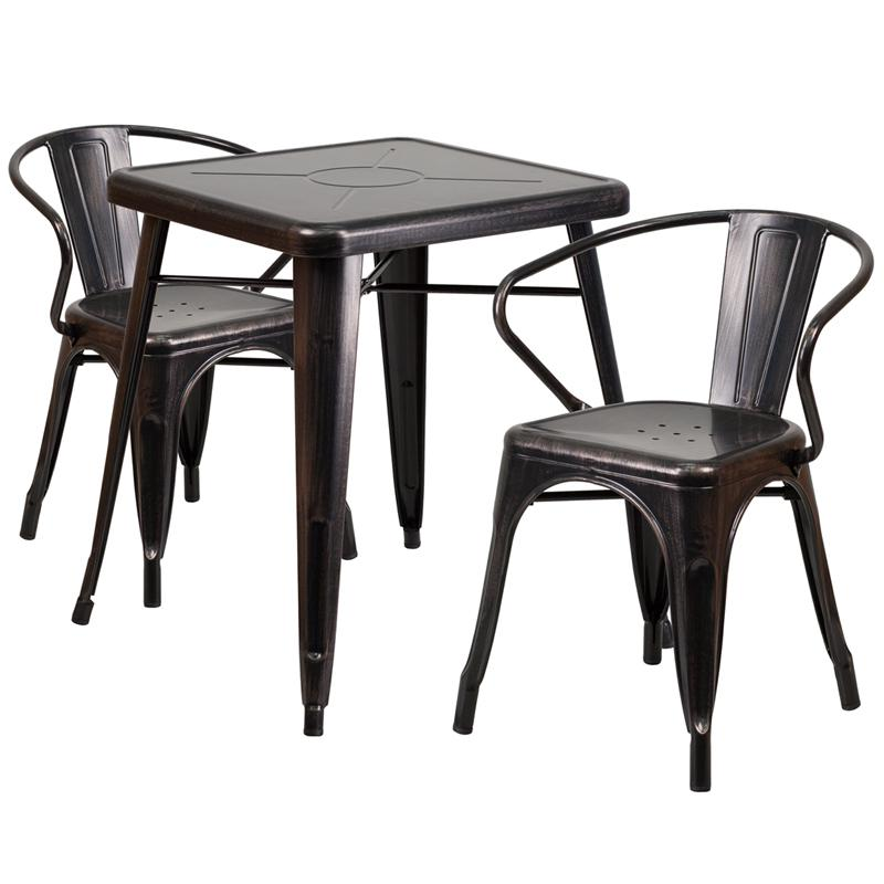 """Commercial Grade 23.75"""" Square Black-Antique Gold Metal Indoor-Outdoor Table Set with 2 Arm Chairs [CH-31330-2-70-BQ-GG]. Picture 1"""