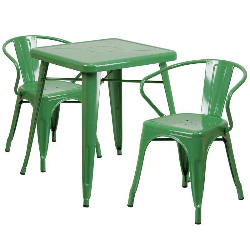 """Commercial Grade 23.75"""" Square Green Metal Indoor-Outdoor Table Set with 2 Arm Chairs [CH-31330-2-70-GN-GG]. Picture 1"""