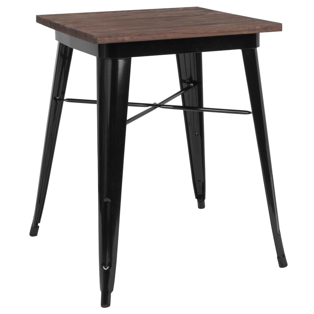 "23.5"" Square Black Metal Indoor Table with Walnut Rustic Wood Top. The main picture."