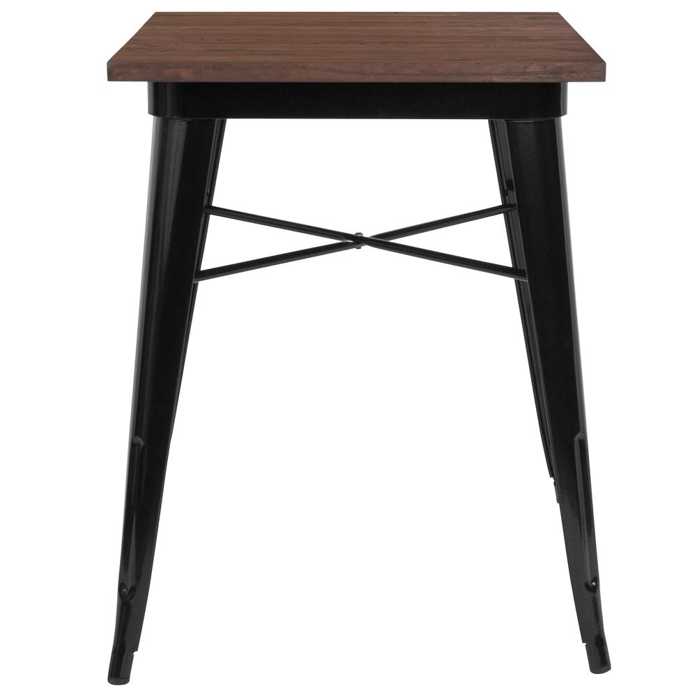"23.5"" Square Black Metal Indoor Table with Walnut Rustic Wood Top. Picture 2"