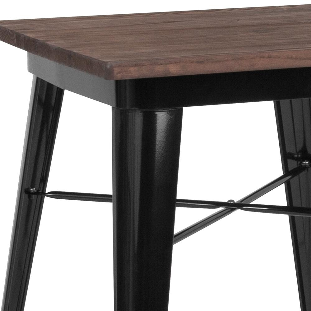 "23.5"" Square Black Metal Indoor Table with Walnut Rustic Wood Top. Picture 3"