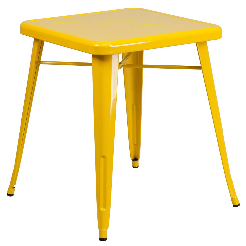 "Commercial Grade 23.75"" Square Yellow Metal Indoor-Outdoor Table [CH-31330-29-YL-GG]. Picture 1"
