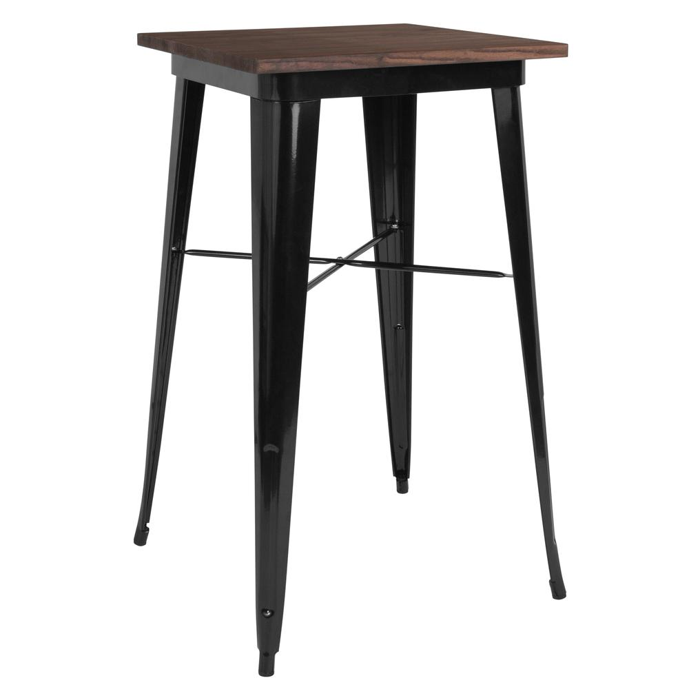 "23.5"" Square Black Metal Indoor Bar Height Table with Walnut Rustic Wood Top. Picture 1"