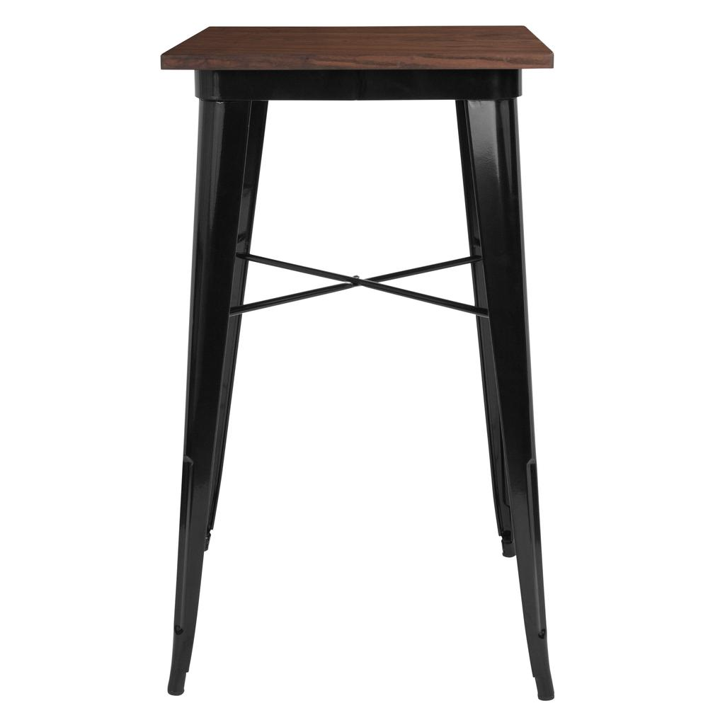 "23.5"" Square Black Metal Indoor Bar Height Table with Walnut Rustic Wood Top. Picture 2"