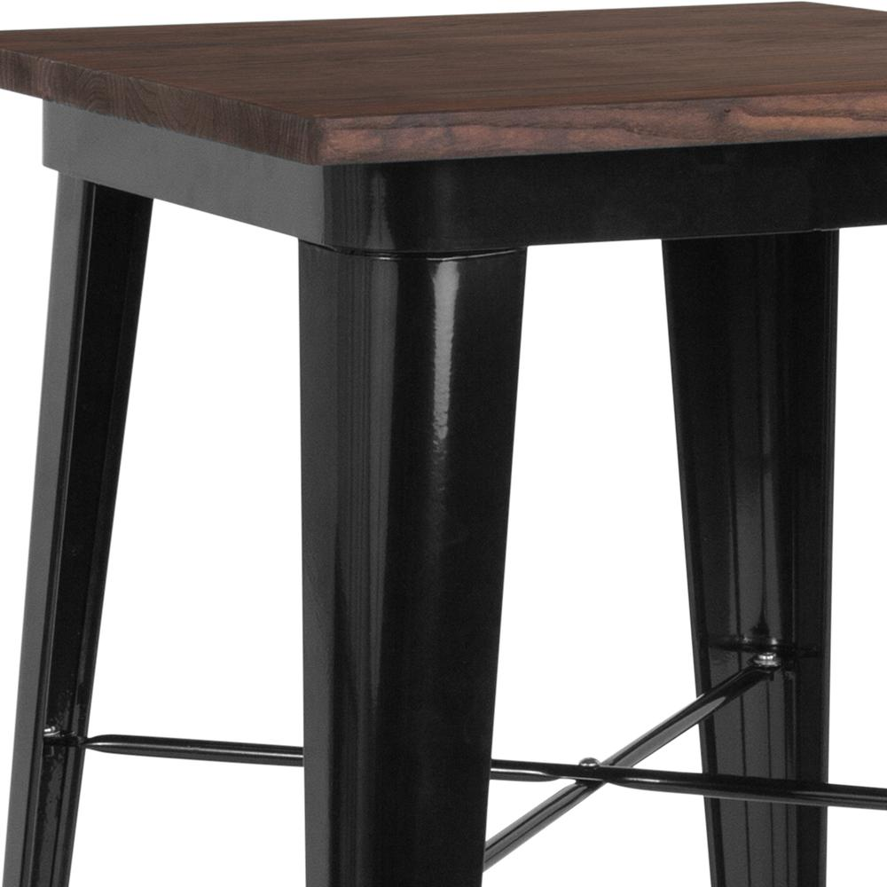 "23.5"" Square Black Metal Indoor Bar Height Table with Walnut Rustic Wood Top. Picture 3"