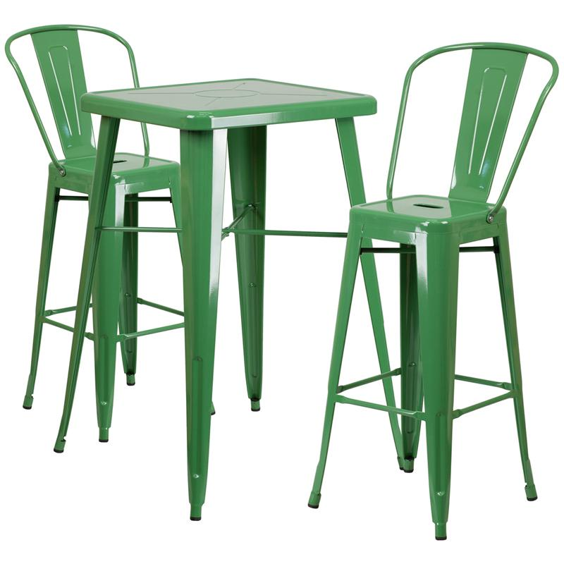 23 75 Square Green Metal Indoor Outdoor Bar Table Set