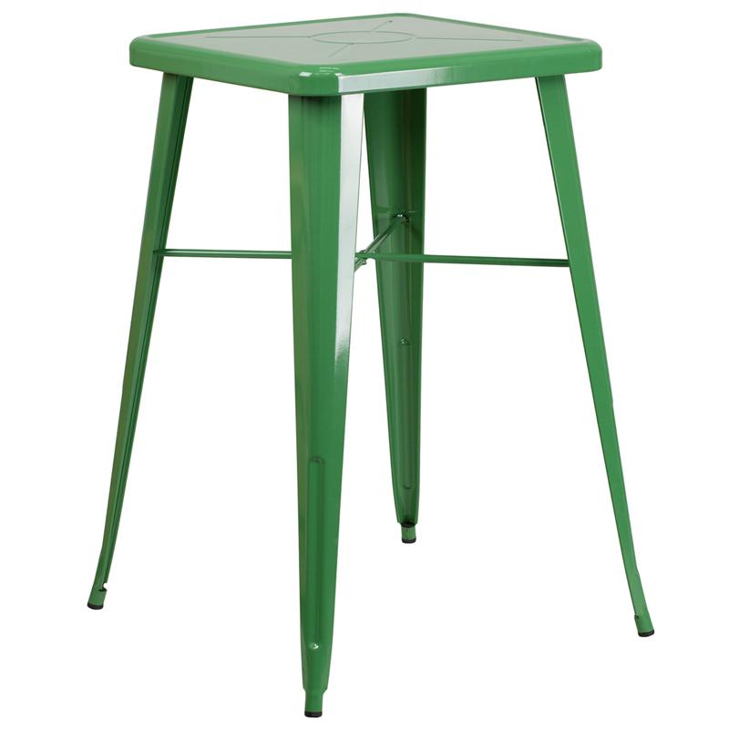 """Commercial Grade 23.75"""" Square Green Metal Indoor-Outdoor Bar Height Table [CH-31330-GN-GG]. Picture 1"""