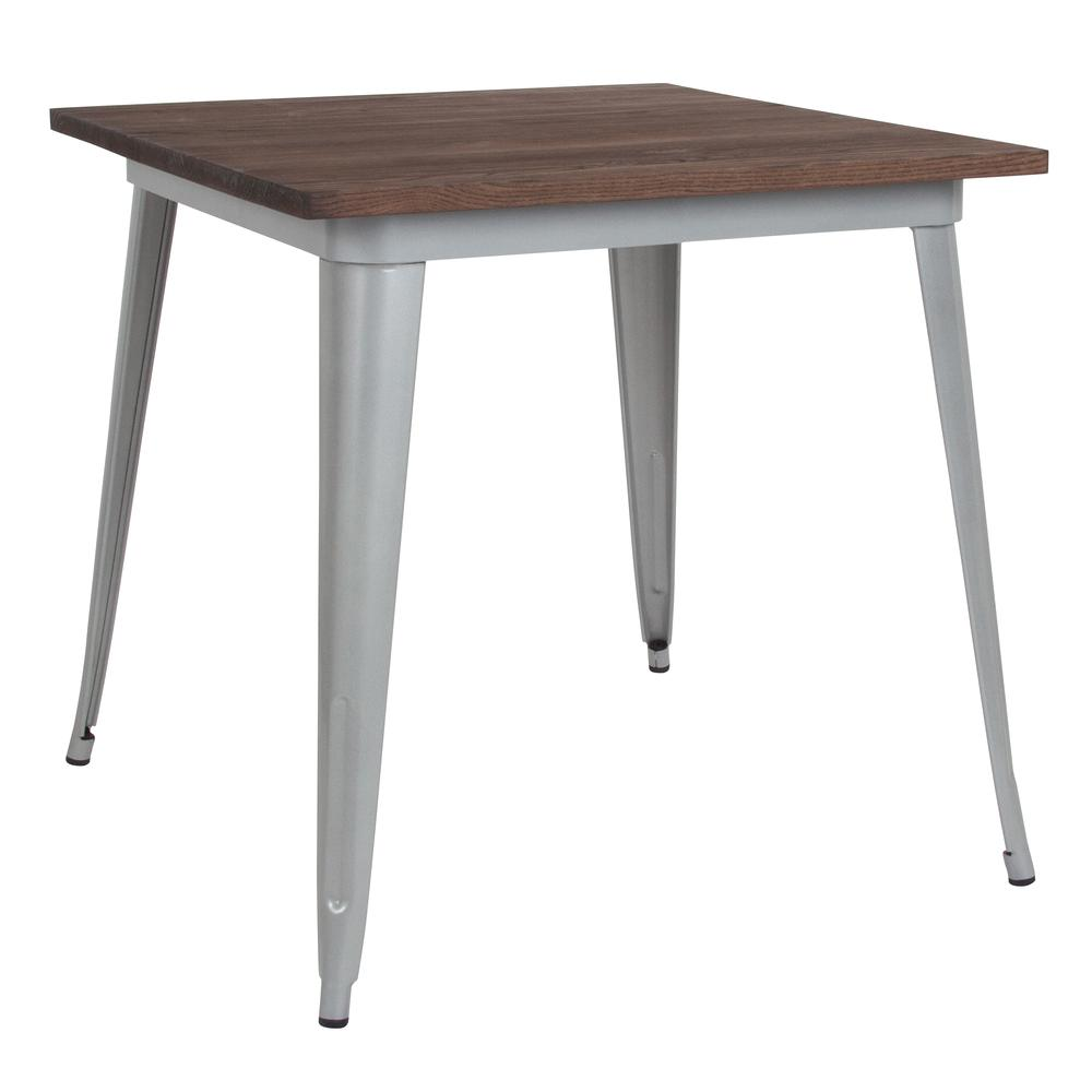"""31.5"""" Square Silver Metal Indoor Table with Walnut Rustic Wood Top. Picture 1"""