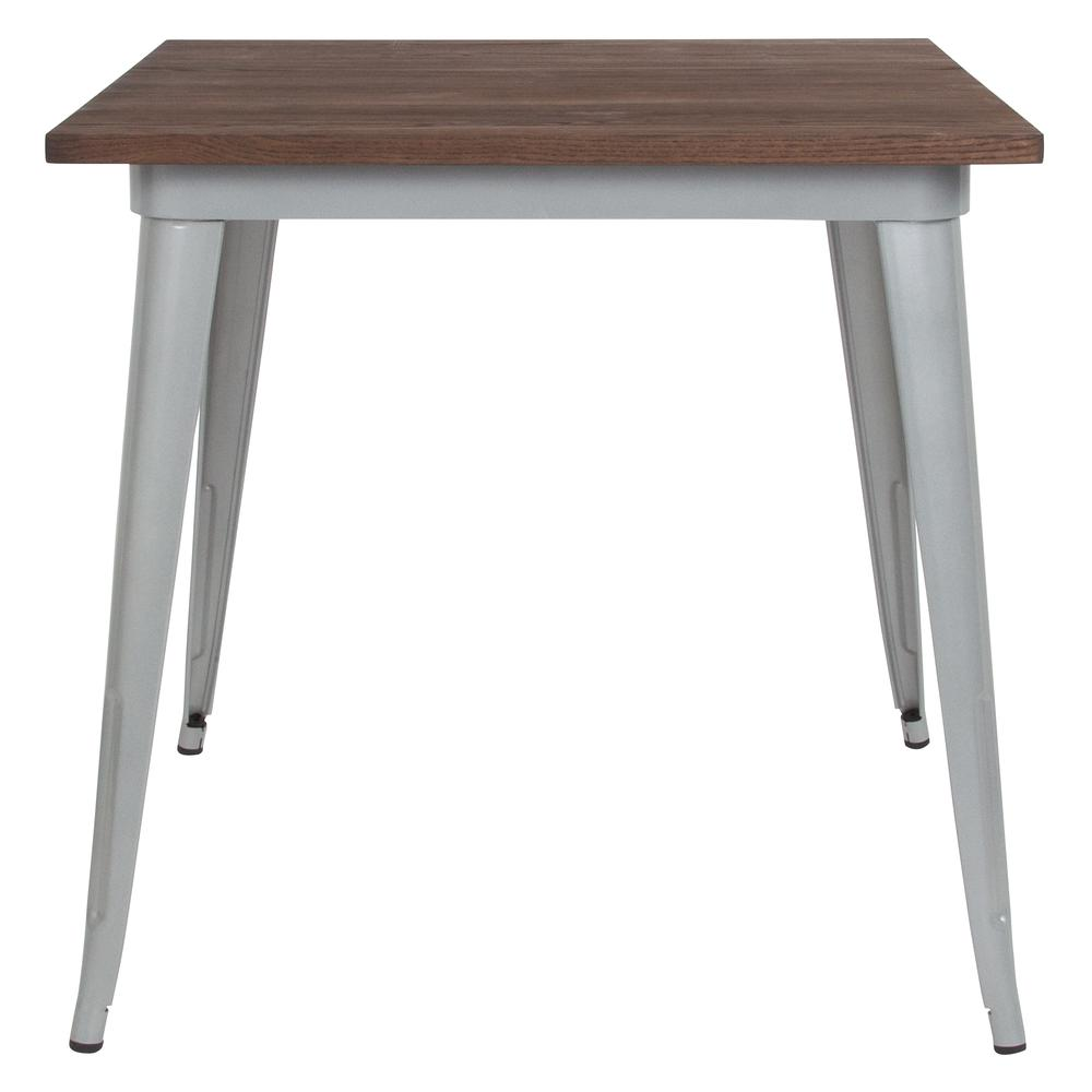 """31.5"""" Square Silver Metal Indoor Table with Walnut Rustic Wood Top. Picture 2"""